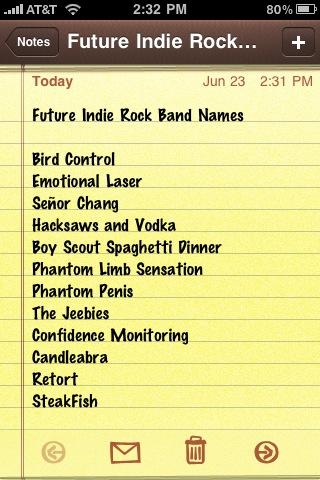 indie rock band names