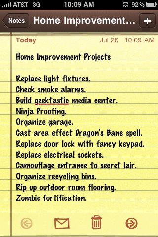 My Home Improvement List